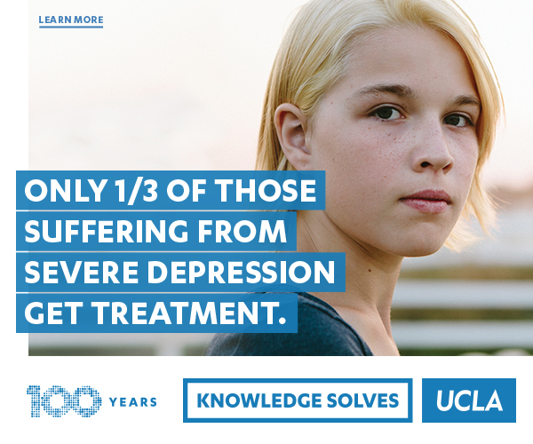 Only 1/3 of those suffering from severe depression get treatment. Learn More. 100 Years. Knowledge Solves. UCLA.
