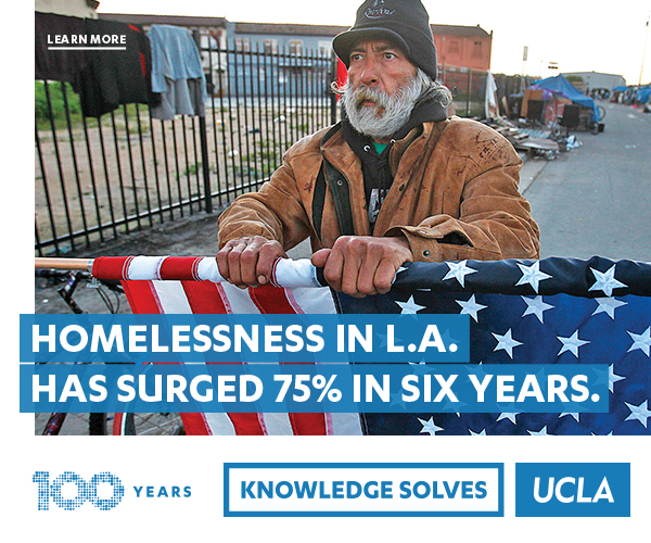 Homelessness in L.A has surged 75% in six years. Learn More. 100 Years. Knowledge Solves. UCLA.